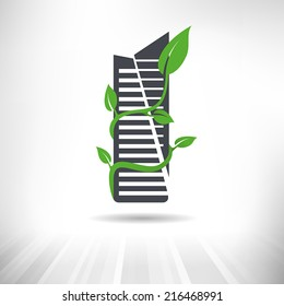 Green Building Concept. Office building surrounded by green leaves. Fully scalable vector illustration.