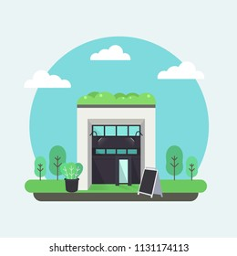 Green building design with blank standing board vector illustration