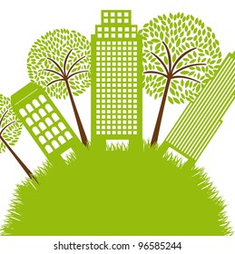 green buildings with tree over grass. vector illustration