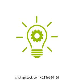 Green  bulb with gear and rays flat icon. Isolated on white. New business idea. New technology. Eco Idea. Design thinking. Vector illustration. Eco friendly technology. Knowledge