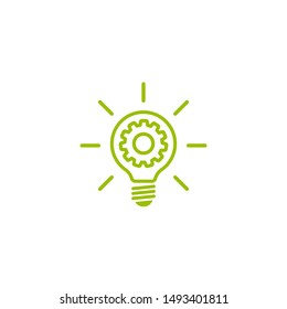Green  bulb with gear and rays flat icon. Isolated on white. New business idea. New technology. Eco Idea. Design thinking. Vector illustration. Settings, technology label