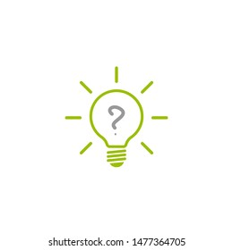 green bulb with question and rays. flat icon. Isolated on white background. FAQ icon.  New business idea. Vector illustration. curiosity logo.