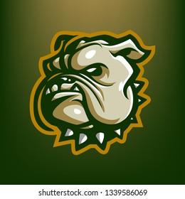 Green Bulldog for esport and sport mascot logo isolated on dark Green Background