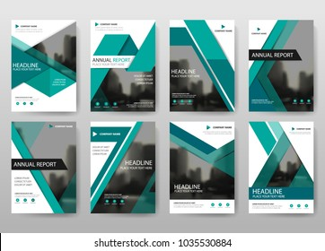 Green bundle annual report brochure flyer design template collection, Leaflet cover presentation abstract flat background, layout in A4 size