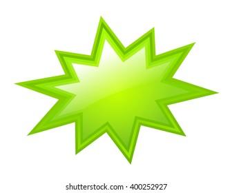 Green bursting star, vector illustration isolated on white background