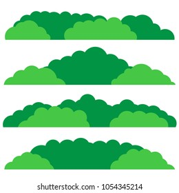 Green bush set. Flat design. Bush landscape isolated icon. Vector illustration.