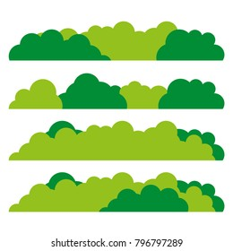 Green bush set icon. Flat design. Vector.