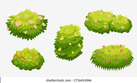 Green bushes with various flowers. Green bushes with pink, yellow, orange and red flowers isolated on a white background. Used as a landscape element to create a scene. Vector cartoon illustration