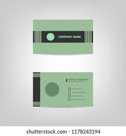 Green business card design template, stock vector