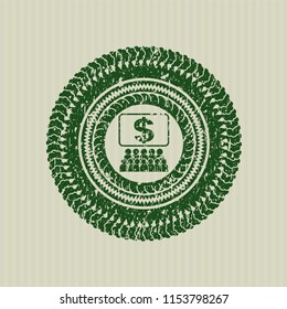 Green business congress icon inside rubber seal with grunge texture