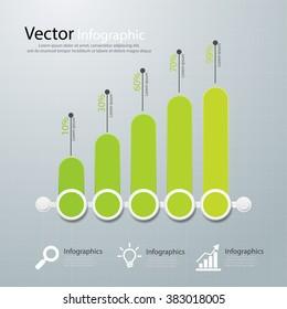 Green business flat design graph. vactor illustration