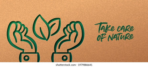 Green business man hands papercut illustration with plant leaf. Eco-friendly people lifestyle, nature connection or environmental concept. 3d cutout in recycled paper background.