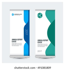 Green business multipurpose rollup design template vector, Business cover presentation abstract geometric background, modern banner free standing, advertisement. Vector illustration