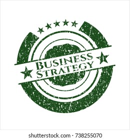 Green Business Strategy distressed with rubber seal texture