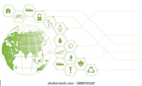 Green Business template and background for Global Sustainability concept, Vector illustration