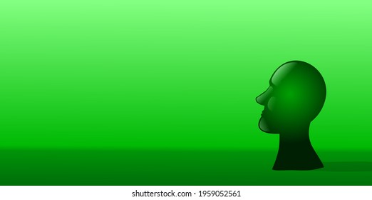 A green bust sculpture looking at left direction. Vector illustration