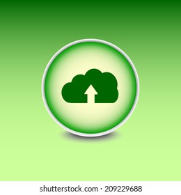 Green button with shadow. Vector icon
