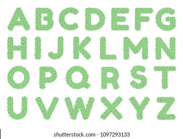 Green Cactus alphabet A-Z font letters isolated on white background.
