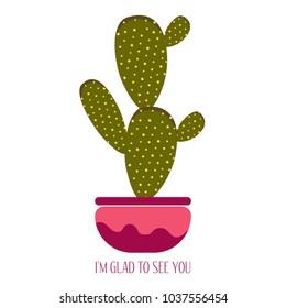 green cactus black pot on white stock vector royalty free