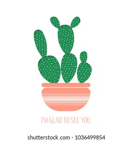 Green Cactus In A Pink Pot On White Background Creative Vector Template With Text