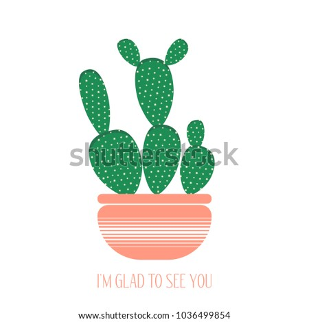 green cactus pink pot on white stock vector royalty free