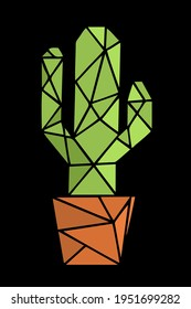green cactus in polygon style