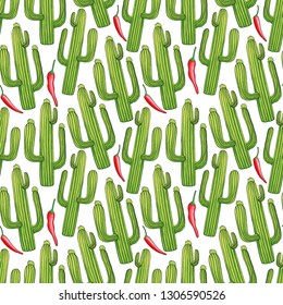 Green cactuses hand drawn seamless pattern. Cacti and hot chili peppers doodle texture. Mexican plants cartoon drawing. Spicy chilli and desert succulent background. Wrapping paper flat vector fill