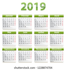 Green calendar for 2019 year in French language. Vector illustration