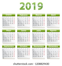 Green calendar for 2019 year in Spanish language. Vector illustration