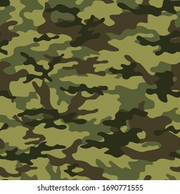Green camouflage pattern military texture on textile. Repeat print. Fashionable background. Vector