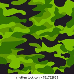 Green camouflage seamless pattern background. Classic clothing style masking camo repeat print. Green, lime, black olive colors forest texture. Design element. Vector illustration.