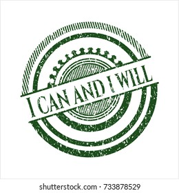 Green I can and i will distress rubber stamp with grunge texture