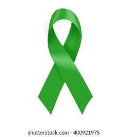 Green cancer awareness ribbon for many medical conditions and diseases .