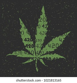 Green Cannabis leaf with 420 numbers on grunge background.