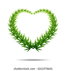 green cannabis leaf drug marijuana herb Background. Vector Marijuana Frame Cannabis heart shape Green Leaf.