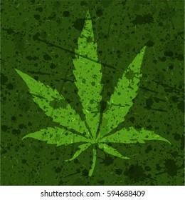 Green Cannabis leaf on grunge background. Vector illustration