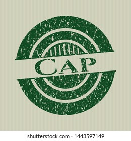 Green Cap distress grunge style stamp