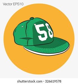 Green cap snapbac icon vector
