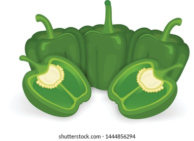 green capsicum with half piece of capsicum vector illustration