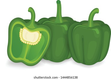 Green capsicums with half piece of capsicum ( bell pepper) vector illustration