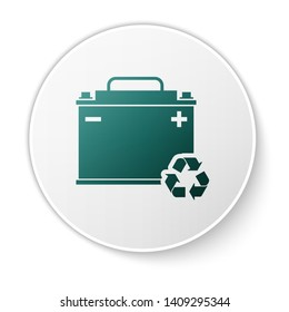 Green Car battery with recycle icon isolated on white background. Accumulator battery energy power and electricity accumulator battery. White circle button. Vector Illustration