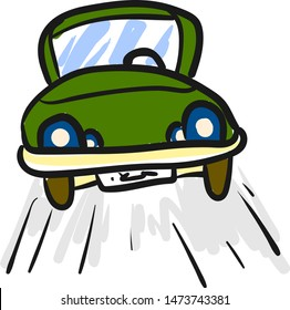 A green car with blue head lights running on the road, vector, color drawing or illustration.