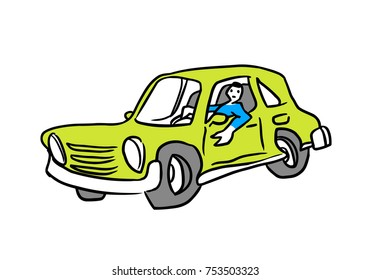 Green car doodle and it's owner sitting inside. Vector illustration.