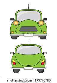 Green car, front and back view.