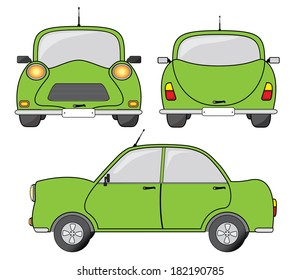 Green car front, side and back view, vector illustration. Creative transportation design.