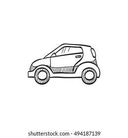 Green car icon in doodle sketch lines. Low emission, electric vehicle