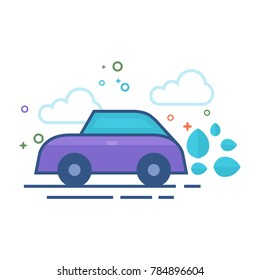 Green car icon in outlined flat color style. Vector illustration.