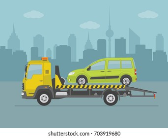 Green car on tow truck, on city background. Vector illustration.