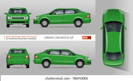 Green car vector mock-up for advertising, corporate identity. Isolated template of eco transport on transparent background. Vehicle branding mockup. View from side, front, back, top.