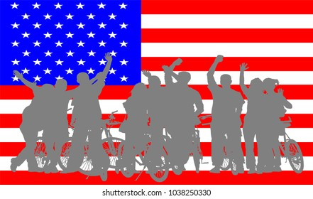 Green card concept. Student exchange program. Happy teenagers crew on bike over USA flag. Wide world trip. Study and explore diversity of culture and people. Multicultural social network. waving hand.
